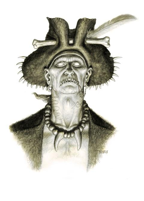 Zombies Piratas en Aguas Misteriosas con cara de malo