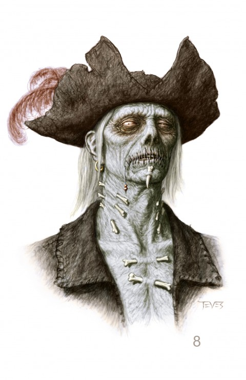 Zombies Piratas en Aguas Misteriosas siempre vestidos para la ocasión