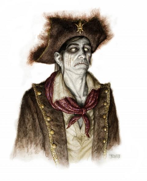 Zombies Piratas en Aguas Misteriosas con cara de serio