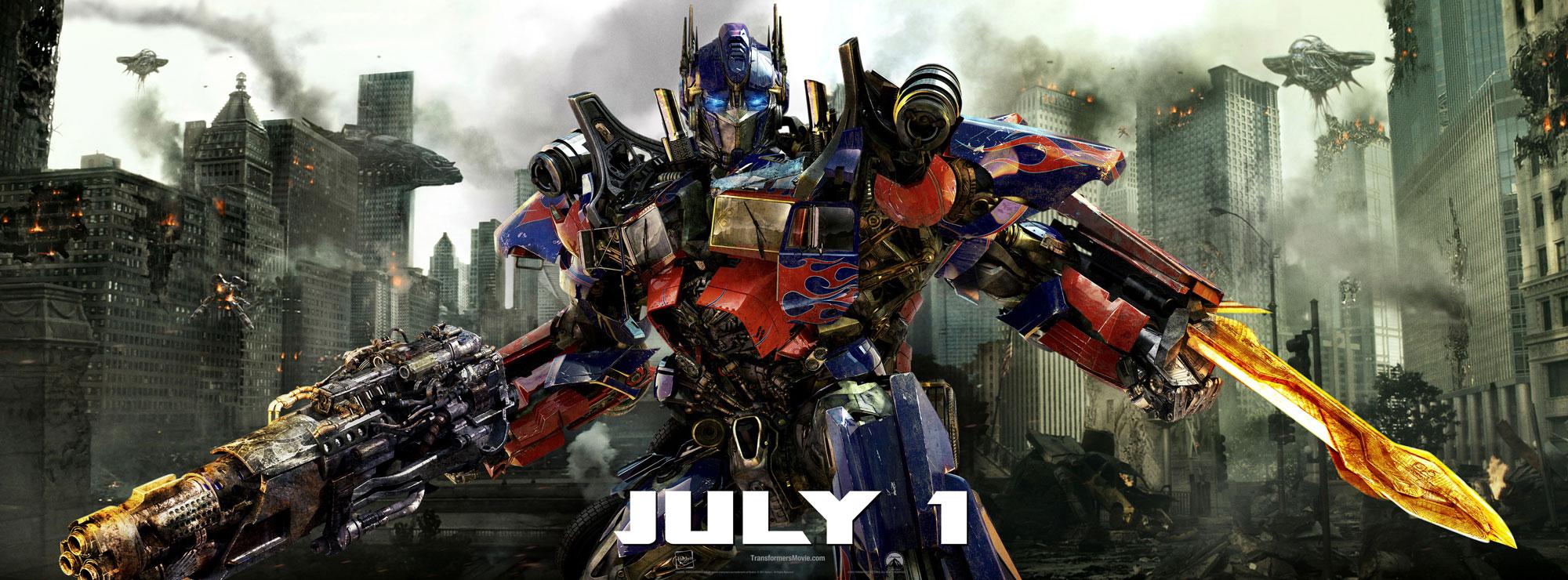 Optimos Prime en el banner de Transformers 3