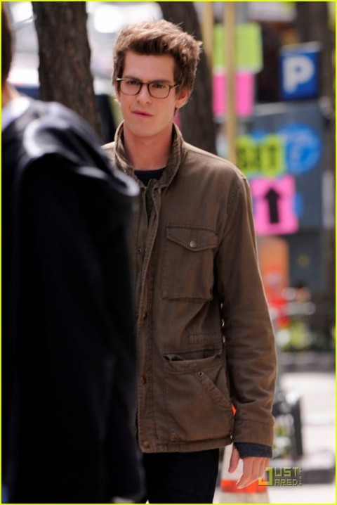 """Actor Andrew Garfield on set in New York filming """"The Amazing Spider-Man"""""""