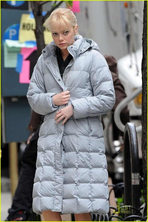 Andrew Garfield and Emma Stone on location for 'The Amazing Spider-Man' in Manhattan, NYC