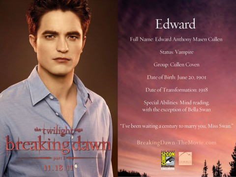 Edward Cullen Breaking Dawn Card