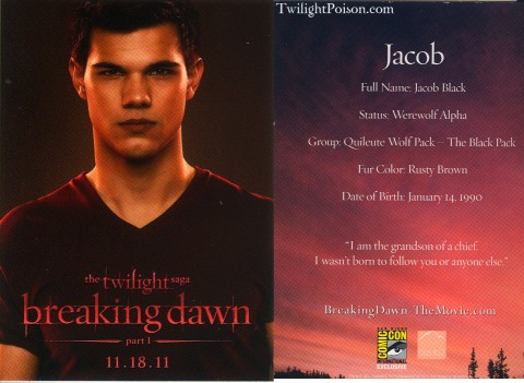 Jacob Black Breaking Dawn Card