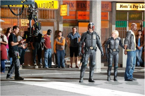 karl urban olivia thirlby set dredd