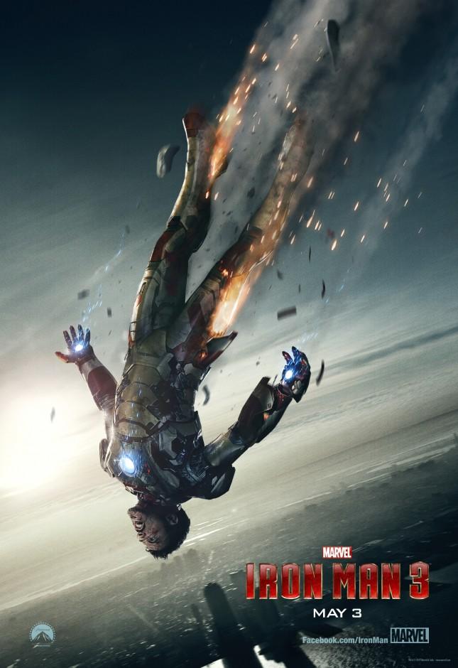 iron man 3 poster tony stark cayendo dramatico