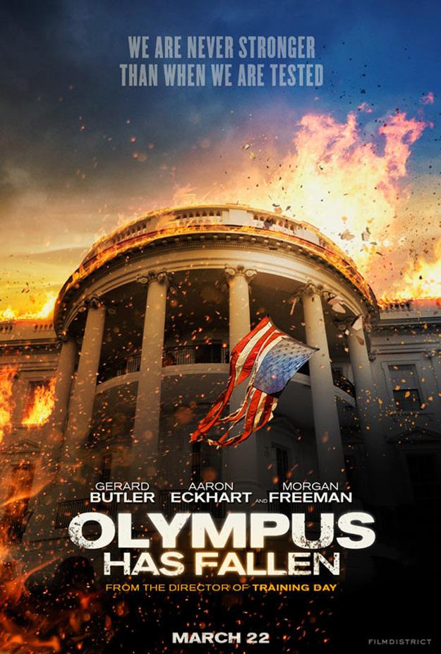 casa blanca en llamas olympus has fallen poster