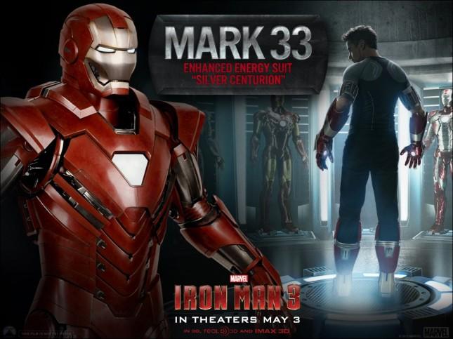 iron man 3 mark 33 centurion-plateado
