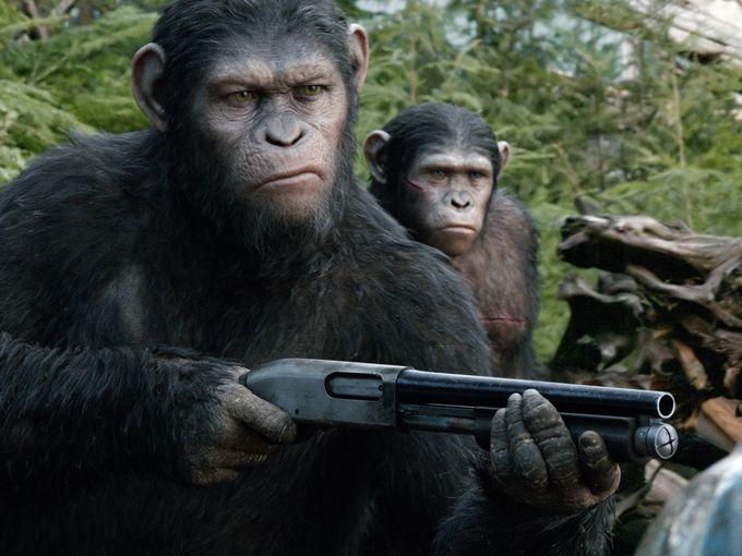 planeta de los simios confrontacion cesar escopeta