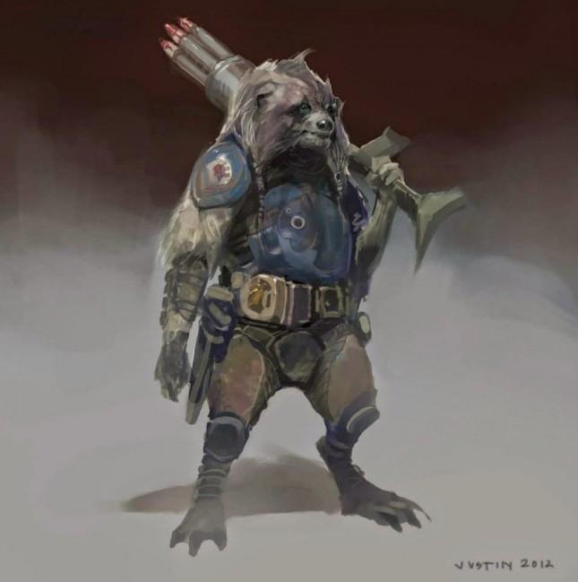 rocket guardianes galaxia arte conceptual