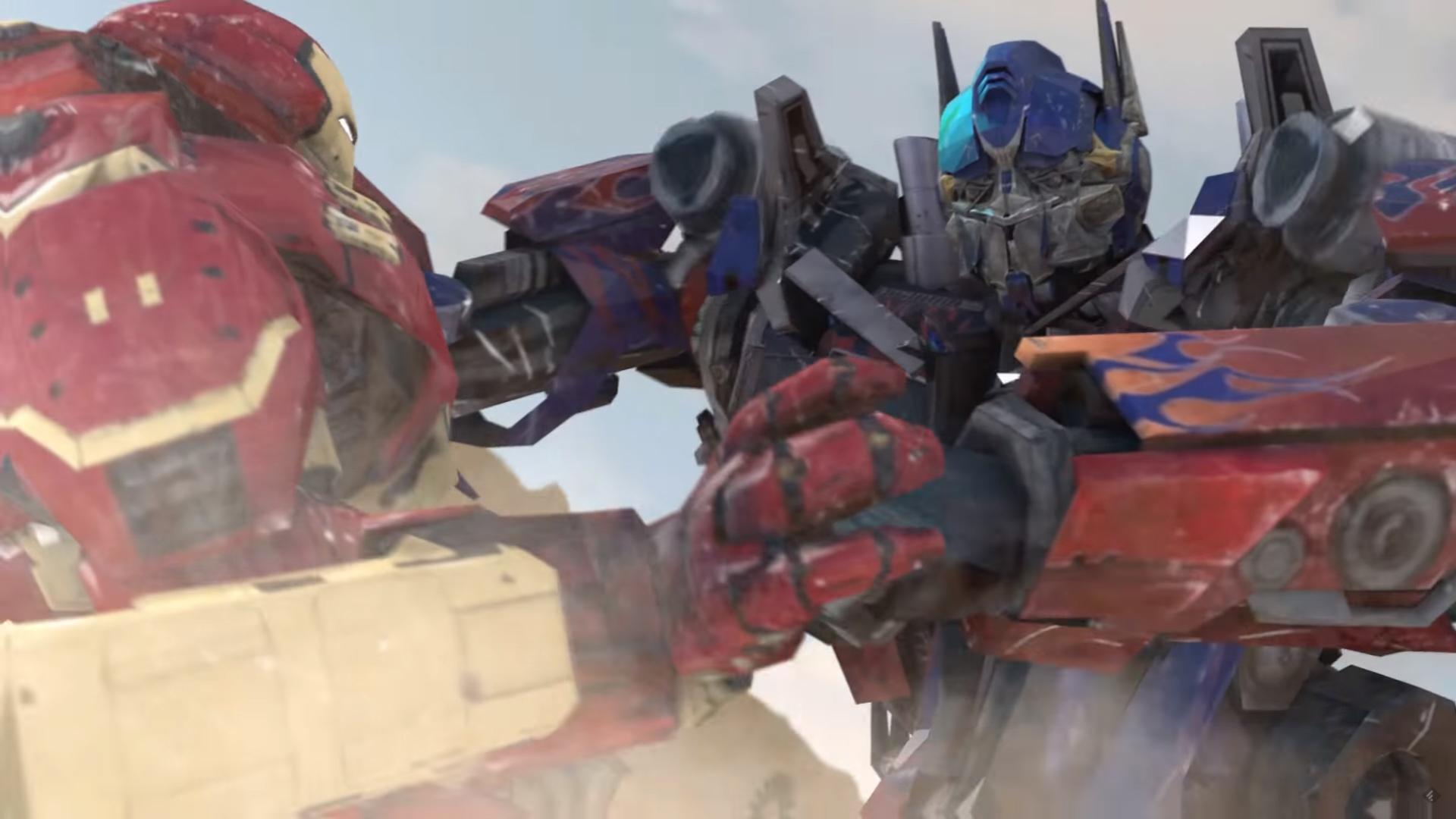 iron man optimus prime pelea