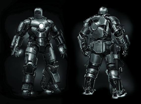 first suit back 1024 570x420 - 10 Años de Marvel: Galería con el Arte Conceptual de Iron Man