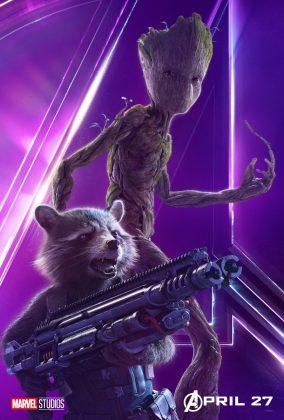 avengers infinity war poster rocket groot bradley cooper vin diesel 284x420 - Todos los Personajes de Avengers: Infinity War
