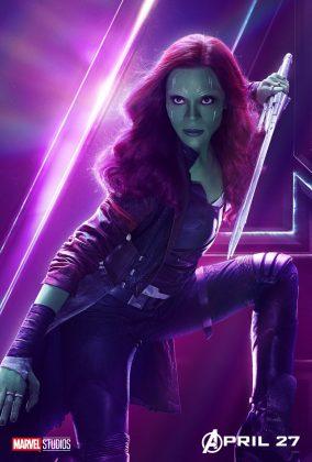 avengers infinity war poster zoe saldana gamora 284x420 - Todos los Personajes de Avengers: Infinity War