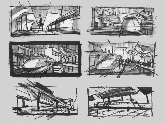 incredibles 2 train station art 560x420 - Galería de Imágenes Conceptuales de Los Increíbles 2