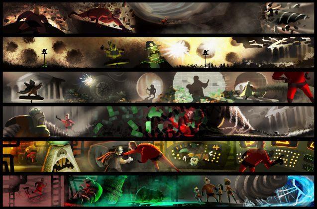 incredibles 2 underminer color board 637x420 - Galería de Imágenes Conceptuales de Los Increíbles 2