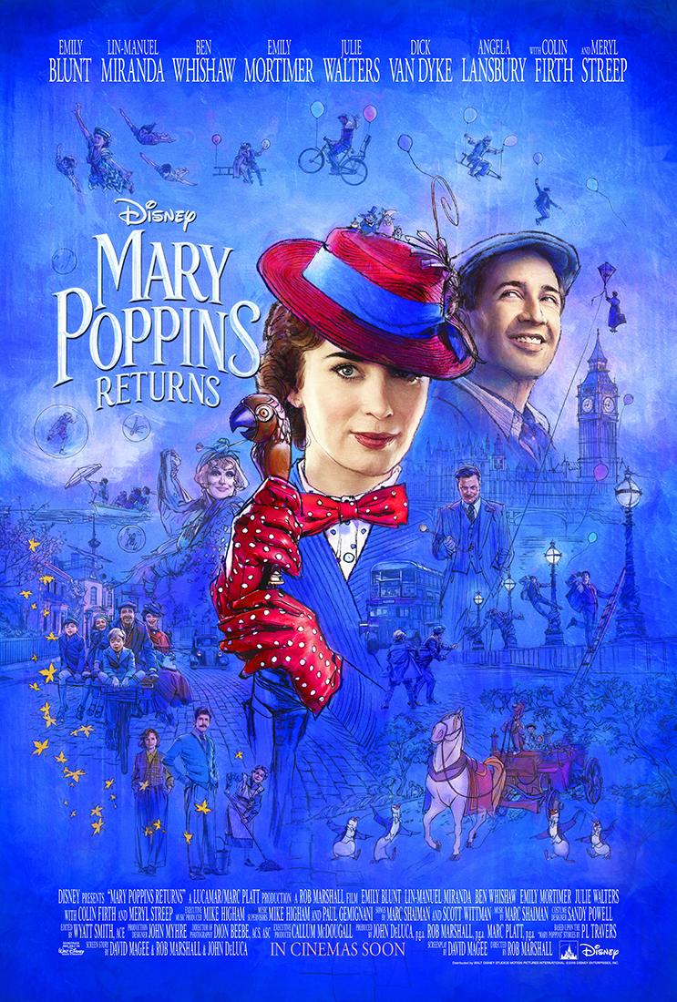 El Regreso de Mary Poppins póster en inglés - Trailer oficial de El regreso de Mary Poppins