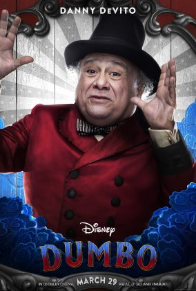 dumbo poster danny devito 284x420 - Los Personajes de Dumbo de Disney