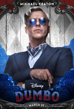dumbo poster michael keaton 284x420 - Los Personajes de Dumbo de Disney
